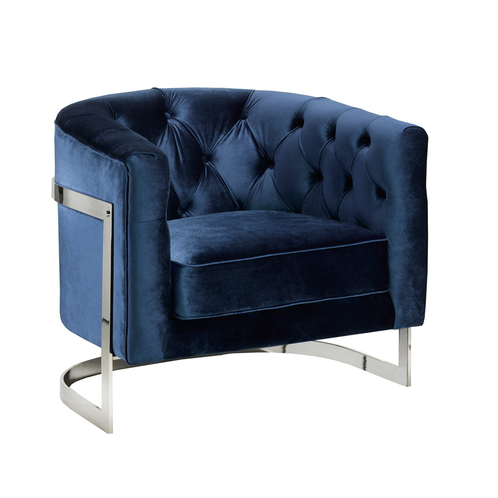 Pinnacle Blue Velvet Chair - Dreamart Gallery