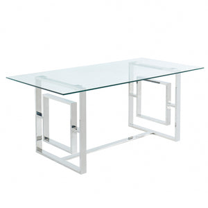 Eros Dining Table in Silver - Dream art Gallery