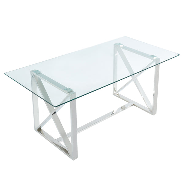 Lorenzo Dining Table in Silver - Dreamart Gallery