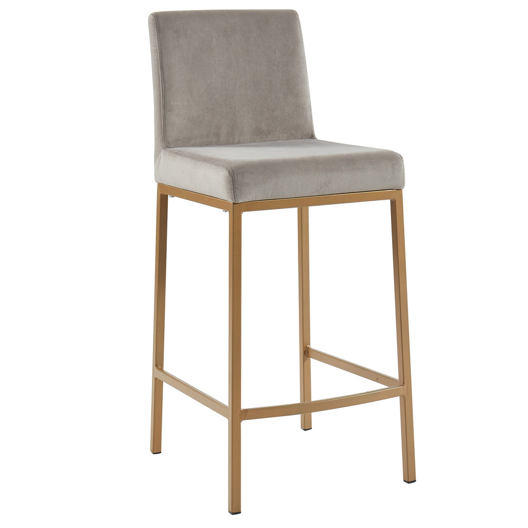 Diego 26'' Counter Stool in Grey with Gold Legs - Dream art Gallery