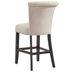 Selma 26'' Counter Stool in Beige with Coffee Legs