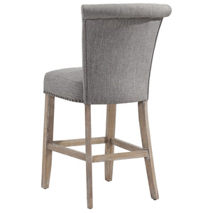 Selma 26'' Counter Stool in Grey with Vintage Oak Legs - Dreamart Gallery