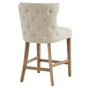 Parker 26'' Counter Stool in Beige with Vintage Oak Legs - Dream art Gallery