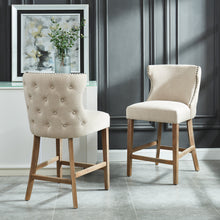 Load image into Gallery viewer, Parker 26'' Counter Stool in Beige with Vintage Oak Legs