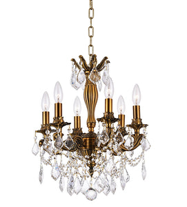 6 LIGHT UP CHANDELIER WITH FRENCH GOLD FINISH - Dream art Gallery