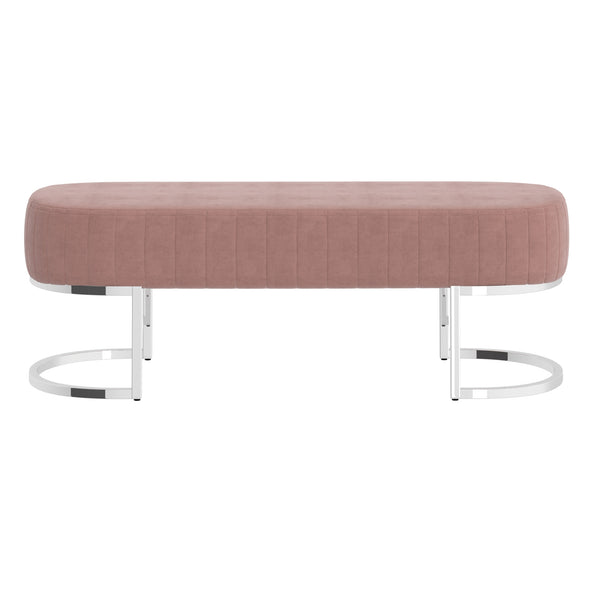 Zamora Bench in Dusty Rose with Silver Base - Dreamart Gallery