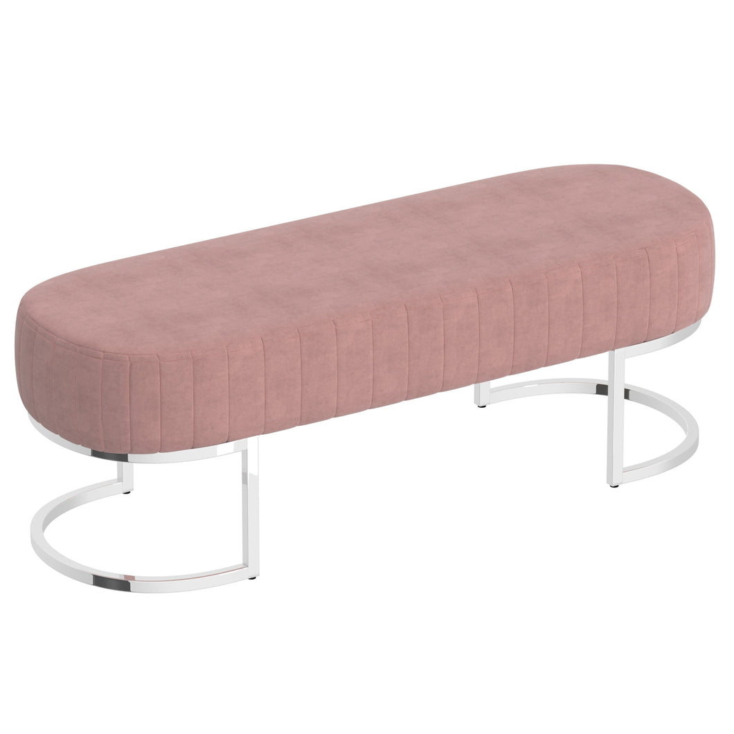 Zamora Bench in Dusty Rose with Silver Base - Dream art Gallery