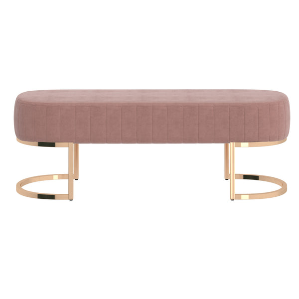 Zamora Bench in Dusty Rose with Gold Base