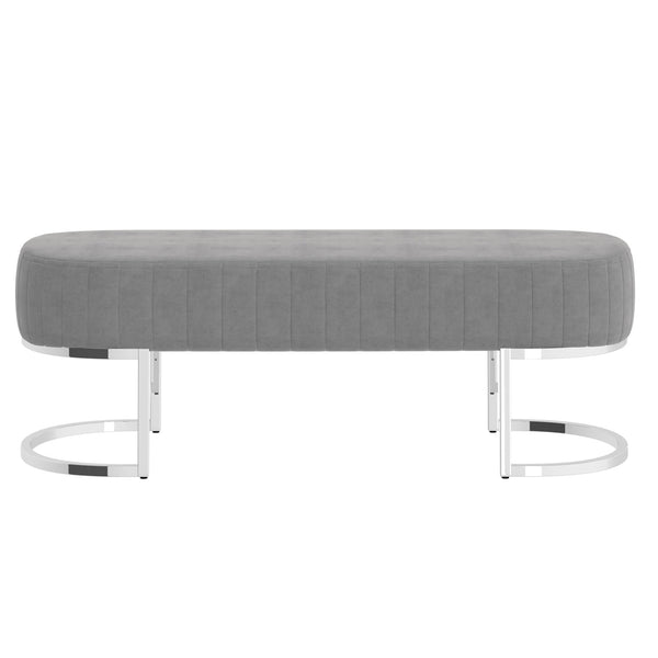 Zamora Bench in Grey with Silver Base - Dreamart Gallery