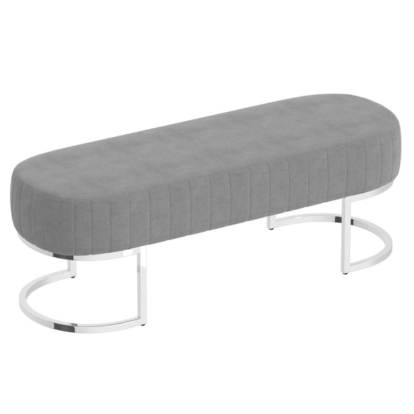 Zamora Bench in Grey with Silver Base - Dream art Gallery