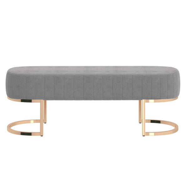 Zamora Bench in Grey with Gold Base - Dreamart Gallery