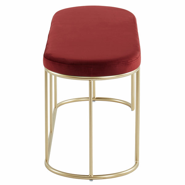 Perla Bench in Burgundy/Gold