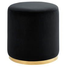 Load image into Gallery viewer, Sonata Round Ottoman in Black & Gold - Dream art Gallery