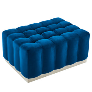 Magnum Rectangular Cocktail Ottoman in Blue & Silver - Dream art Gallery