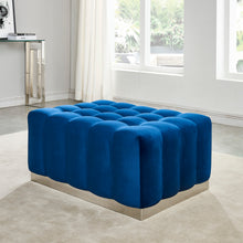 Load image into Gallery viewer, Magnum Rectangular Cocktail Ottoman in Blue & Silver - Dreamart Gallery