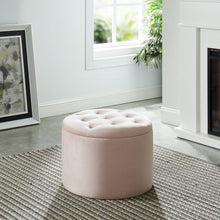 Load image into Gallery viewer, Talia Round Storage Ottoman in Pink - Dream art Gallery