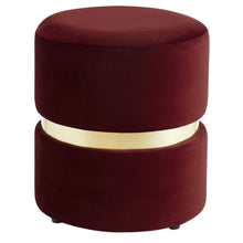 Load image into Gallery viewer, Violet Round Ottoman in Burgundy - Dreamart Gallery