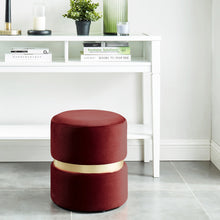 Load image into Gallery viewer, Violet Round Ottoman in Burgundy - Dream art Gallery