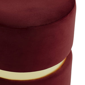 Violet Round Ottoman in Burgundy - Dream art Gallery