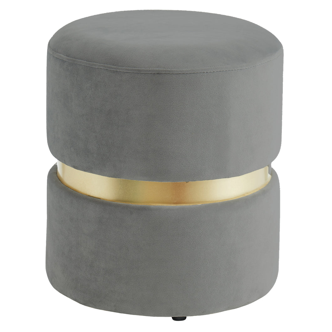 Violet Round Ottoman in Grey - Dream art Gallery