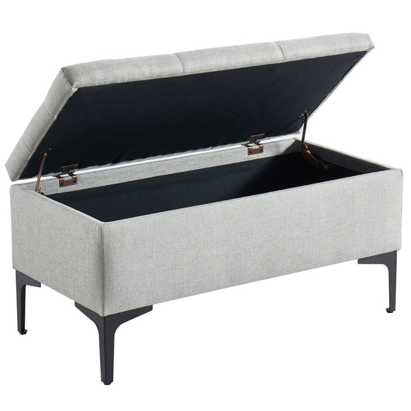 Tyler Rectangular Storage Ottoman in Light Grey/Black - Dream art Gallery
