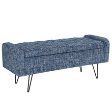 Load image into Gallery viewer, Odet Storage Ottoman/Bench in Blue with Black Leg - Dreamart Gallery