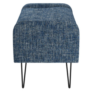 Odet Storage Ottoman/Bench in Blue with Black Leg - Dreamart Gallery