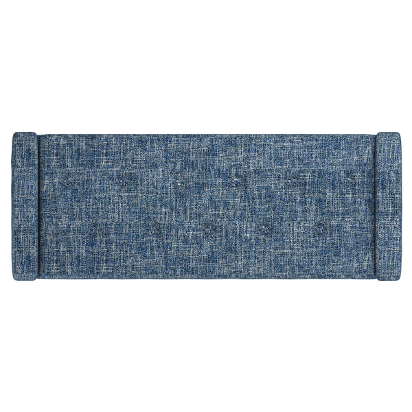 Odet Storage Ottoman/Bench in Blue with Black Leg - Dream art Gallery