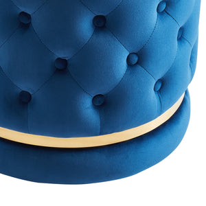 Delilah Round Swivel Ottoman in Blue & Gold - Dream art Gallery