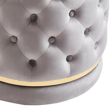 Load image into Gallery viewer, Delilah Round Swivel Ottoman in Grey & Gold - Dream art Gallery