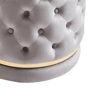 Delilah Round Swivel Ottoman in Grey & Gold - Dream art Gallery