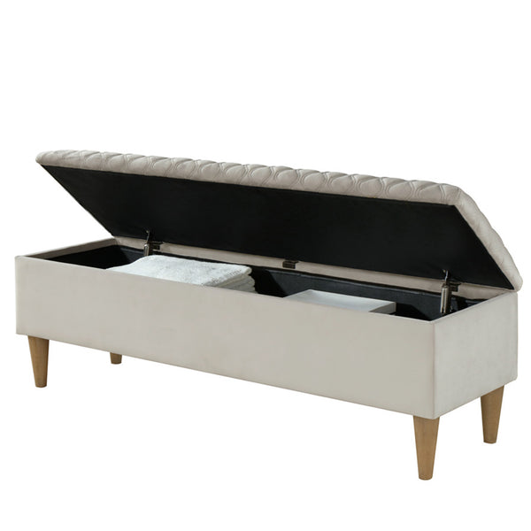 Sienna Rectangular Storage Ottoman in Light Grey