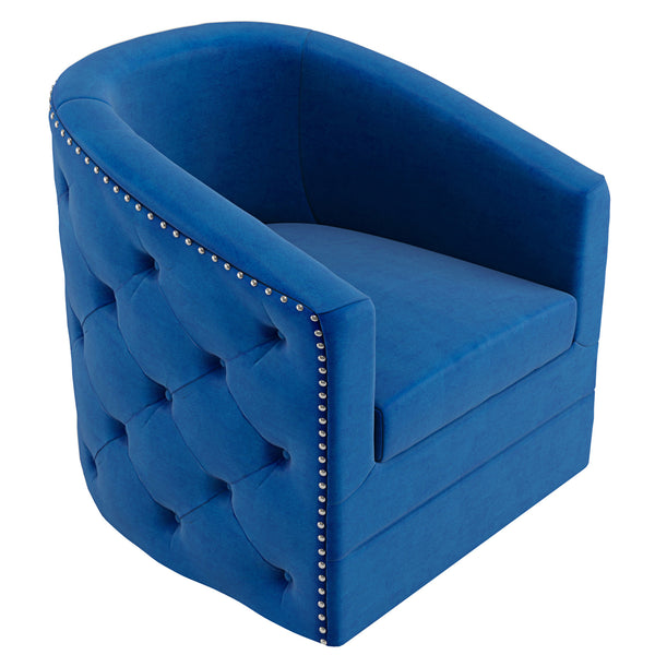 Velci Swivel Accent Chair in Blue