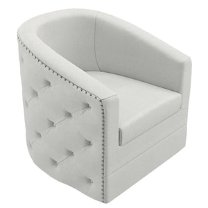 Velci Swivel Accent Chair in Ivory - Dreamart Gallery