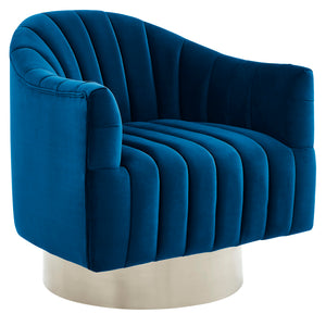 Cortina Accent Chair in Blue & Silver - Dream art Gallery