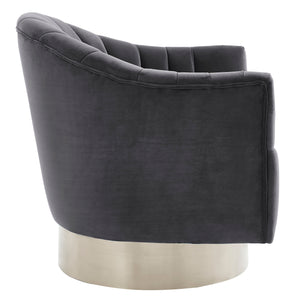 Cortina Accent Chair in Grey & Silver - Dream art Gallery