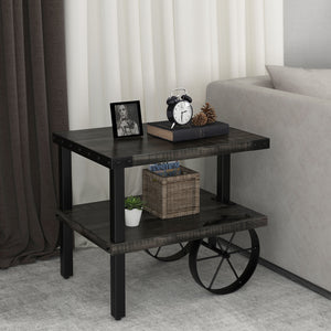 Zahir Accent Table in Distressed Grey - Dream art Gallery