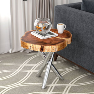 Shlok Accent Table in Natural with Chrome Legs - Dream art Gallery