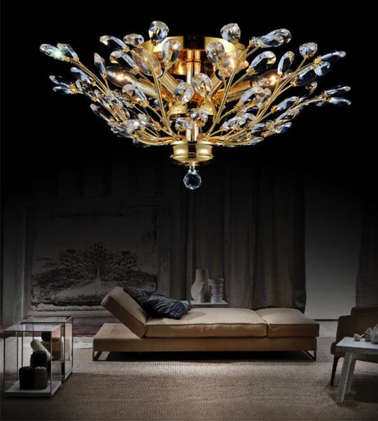 6 LIGHT FLUSH MOUNT WITH GOLD FINISH - Dream art Gallery