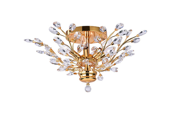 6 LIGHT FLUSH MOUNT WITH GOLD FINISH - Dreamart Gallery