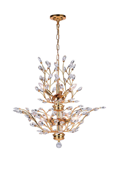 9 LIGHT CHANDELIER WITH GOLD FINISH - Dream art Gallery
