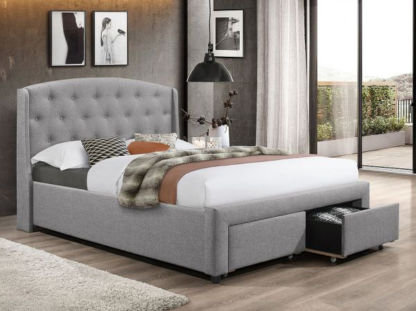 IF-5290 Dark Grey Fabric Bed - Dream art Gallery