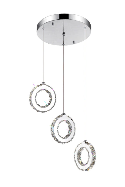 LED MULTI LIGHT PENDANT WITH CHROME FINISH