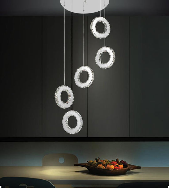 LED MULTI LIGHT PENDANT WITH CHROME FINISH - Dreamart Gallery