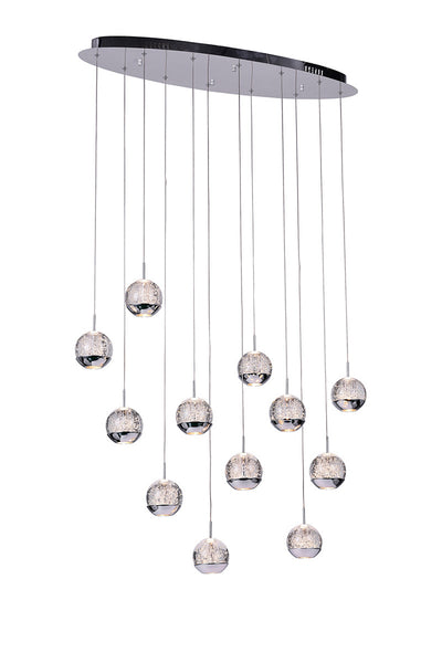 12 LIGHT MULTI LIGHT PENDANT WITH CHROME FINISH