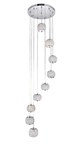 9 LIGHT MULTI LIGHT PENDANT WITH CHROME FINISH - Dream art Gallery
