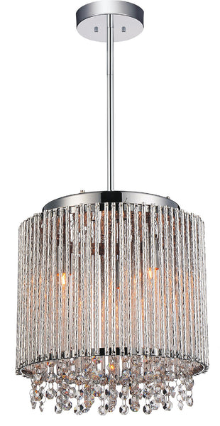3 LIGHT DRUM SHADE MINI PENDANT WITH CHROME FINISH