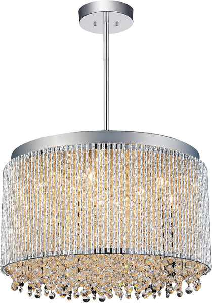 10 LIGHT DRUM SHADE CHANDELIER WITH CHROME FINISH - Dream art Gallery