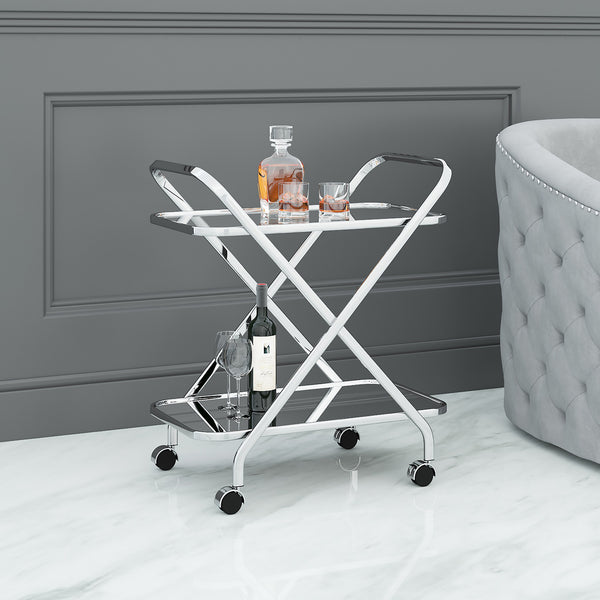Oriso 2-Tier Bar Cart in Chrome - Dream art Gallery