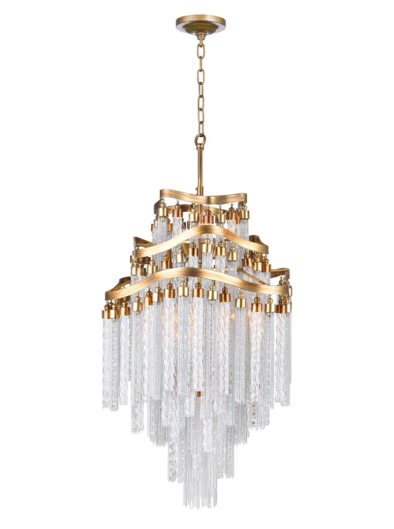 10 LIGHT DOWN CHANDELIER WITH GOLD FINISH - Dream art Gallery